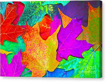 Canvas Print featuring the photograph Vivid Leaves 1 by Ginny Gaura