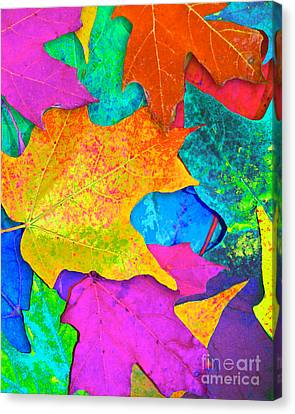 Vivid Leaves 3 Canvas Print by Ginny Gaura