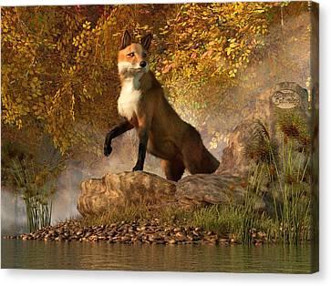 Vixen By The River Canvas Print by Daniel Eskridge