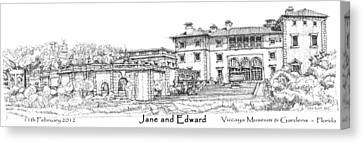 Vizcaya For Jane And Edward Canvas Print by Building  Art