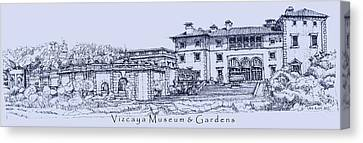 Vizcaya Museum And Gardens In Blue  Canvas Print by Building  Art