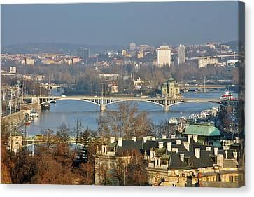 Vltava River In Prague - Tricky Laziness Canvas Print