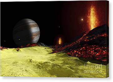 Volcanic Activity On Jupiters Moon Io Canvas Print by Fahad Sulehria