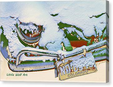 Volkswagen Beetle In Snow Canvas Print