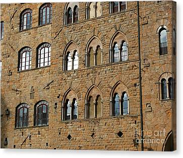 Canvas Print featuring the photograph Volterra Wall Of Windows by Jeanne  Woods