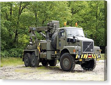 Volvo N10 Truck Crane Of The Belgian Canvas Print by Luc De Jaeger