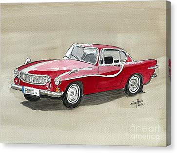 Canvas Print featuring the painting Volvo P1800 by Eva Ason