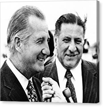Vp Spiro Agnew With Mayor Frank Rizzo Canvas Print by Everett