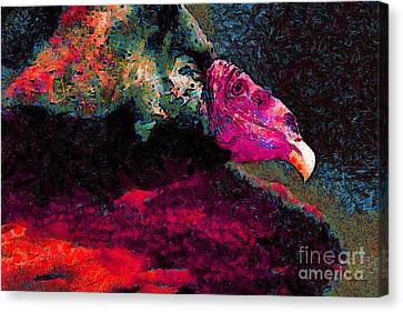 Vulture In Van Gogh.s Dream . V2 . 40d8879 Canvas Print by Wingsdomain Art and Photography