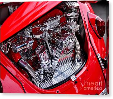 Vw Beetle With Chrome Engine Canvas Print by Kaye Menner
