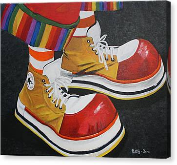 Waffle's Shoes Canvas Print by Betty-Anne McDonald
