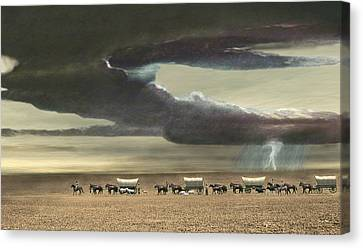 Wagon Train Canvas Print by Walter Colvin