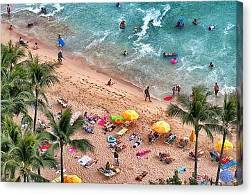 Canvas Print featuring the photograph Waikiki Beach Aerial 1 by Jim Albritton