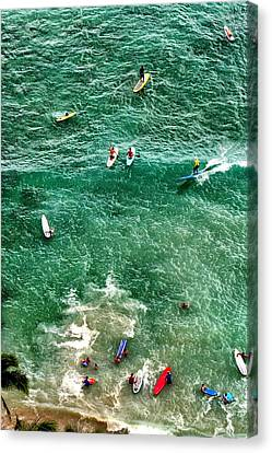 Canvas Print featuring the photograph Waikiki Surfing by Jim Albritton