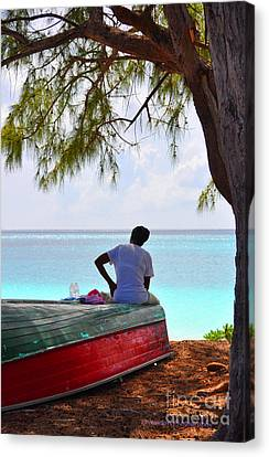 Waiting For Her Ship To Come In Canvas Print by Li Newton