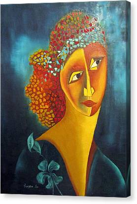 Waiting For Partner Orange Woman Blue Cubist Face Torso Tinted Hair Bold Eyes Neck Flower On Dress Canvas Print by Rachel Hershkovitz
