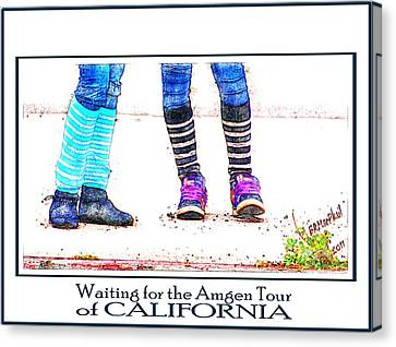 Canvas Print featuring the photograph Waiting For The Amgen Tour Of California by Barbara MacPhail