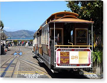 Waiting For The Cablecar At Fishermans Wharf . San Francisco California . 7d14099 Canvas Print by Wingsdomain Art and Photography