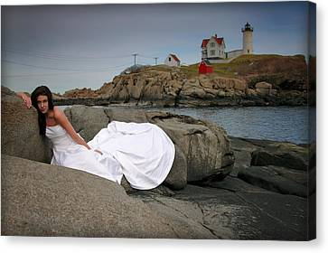 Cape Neddick Lighthouse Canvas Print - Waiting by Rick Berk