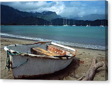 Waiting To Row In Hanalei Bay Canvas Print by Kathy Yates