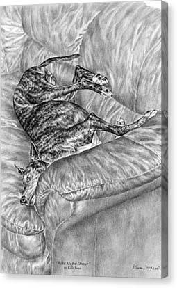 Wake Me For Dinner - Greyhound Dog Art Print Canvas Print by Kelli Swan