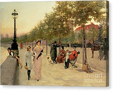 Walk Along The Embankment At Chelsea Canvas Print by Frederick Brown