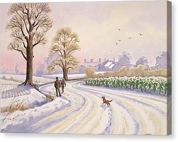 Walk In The Snow Canvas Print by Lavinia Hamer