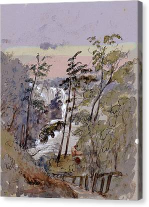 Walk To The Falls Canvas Print by Charles Shoup