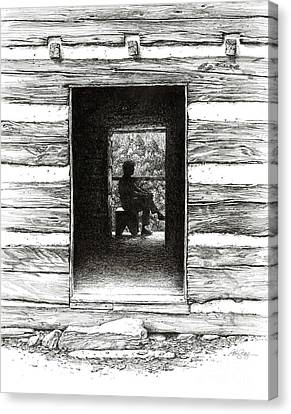 Canvas Print featuring the drawing Walker Sisters' Cabin Door by Bob  George
