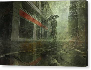 Walking In The Rain Canvas Print by Carol and Mike Werner