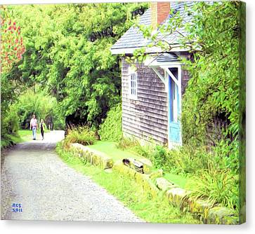 Walking Monhegan Canvas Print by Richard Stevens
