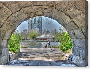 Lincoln Park Lagoon Canvas Print - Walking My Baby Back Home by David Bearden