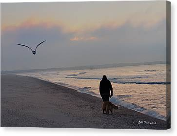 Walking On The Beach - Cape May Canvas Print by Bill Cannon