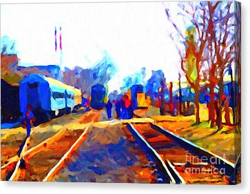 Walking On The Train Tracks In Old Sacramento California . Painterly . Vision 2 Canvas Print by Wingsdomain Art and Photography