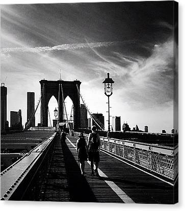 Classic Canvas Print - Walking Over The Brooklyn Bridge - New York City by Vivienne Gucwa