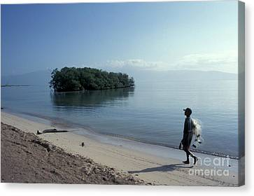 Canvas Print featuring the photograph Walking The Beach At Dawn Barahona Dominican Republic by John  Mitchell