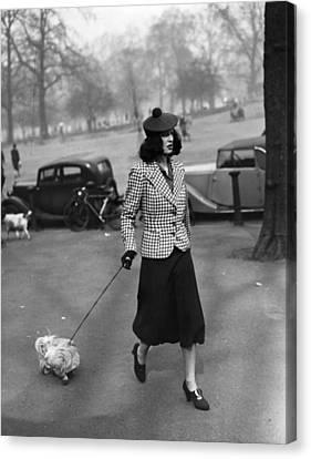 Walking The Dog Canvas Print by H F Davis