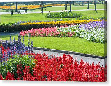 Walkway In Park Canvas Print by Atiketta Sangasaeng
