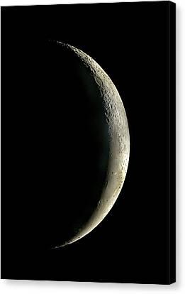 Waning Moon Canvas Print - Waning Crescent Moon by John Sanford