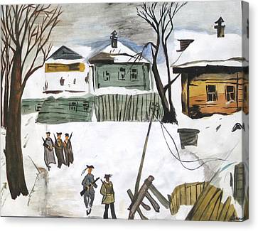 War Affected Village - Water Colouring Canvas Print by Rejeena Niaz