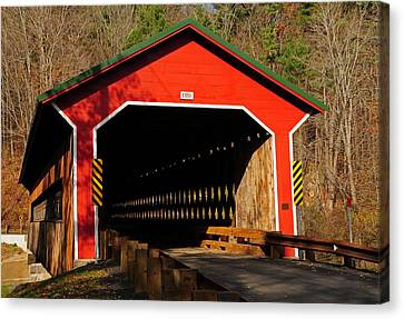 Ware Covered Bridge Canvas Print by Mike Martin