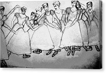 Warming Up - The Ballet Chorus Canvas Print by Forartsake Studio
