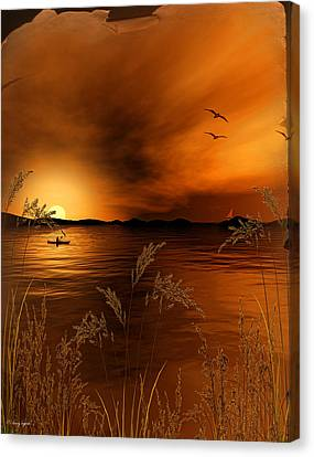 Warmth Ablaze - Gold Art Canvas Print by Lourry Legarde