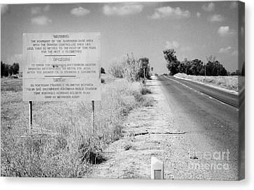 warning road sign warning of the border of the turkish military controlled area of the SBA Sovereign Canvas Print by Joe Fox