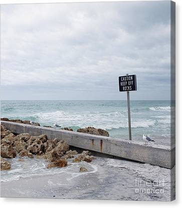 Warning Sign At The Beach Canvas Print by Skip Nall