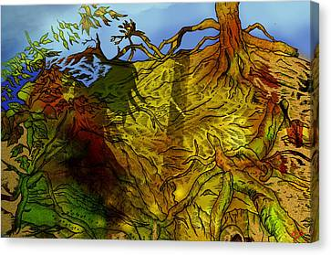 Warrior Wood Pen Drawing Canvas Print by Grant  Wilson