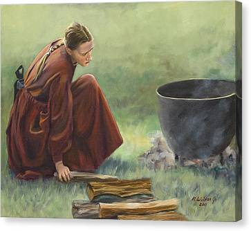 Canvas Print featuring the painting Wash Day I by Karen Wilson