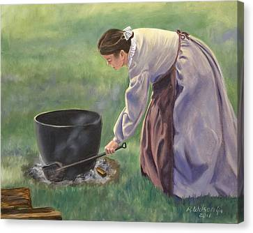 Canvas Print featuring the painting Wash Day II by Karen Wilson