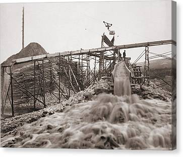 Washing Gold In A Sluice Box Placed Canvas Print by Everett