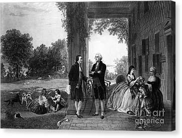 Washington And Lafayette, Mount Vernon Canvas Print by Library of Congress